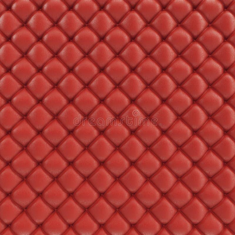 textura do sofá do couro da ilustração 3D Textura luxuoso do estofamento de couro vermelho-colorido Sofá de couro de estofamento ilustração stock