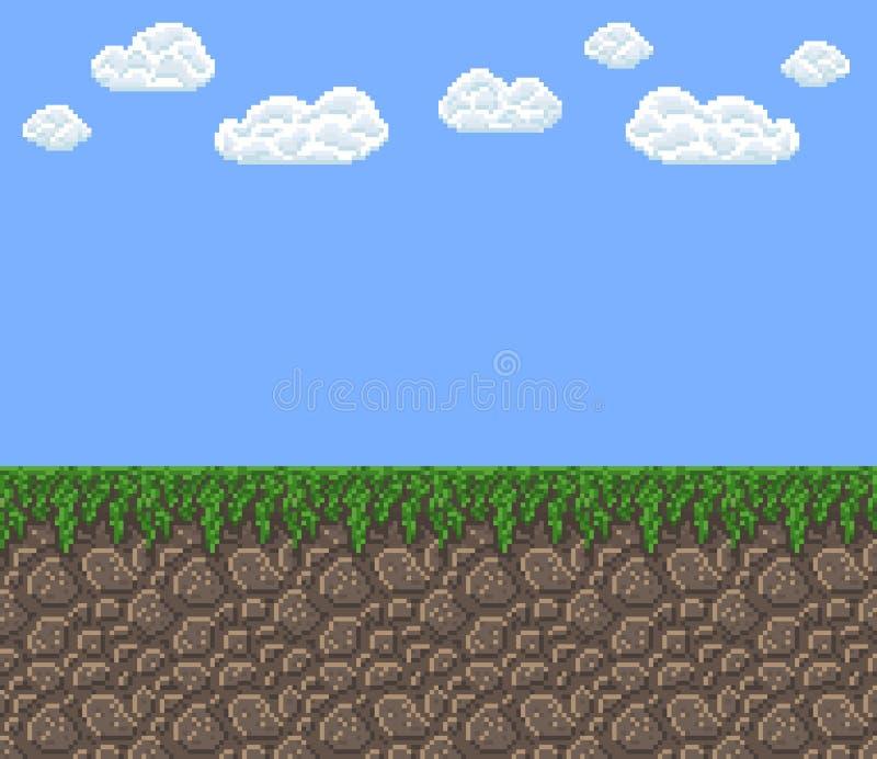 Textura do vetor da arte do pixel - céu azul do dia brilhante com nuvens ilustração stock