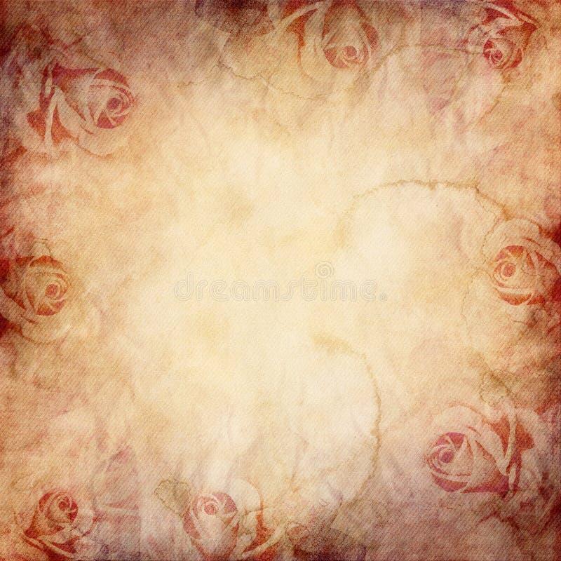 Textura do vintage com rosas ilustração stock