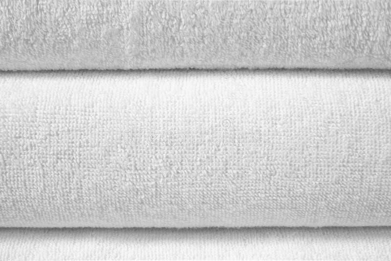 Textura dobrada branca de terry fotografia de stock