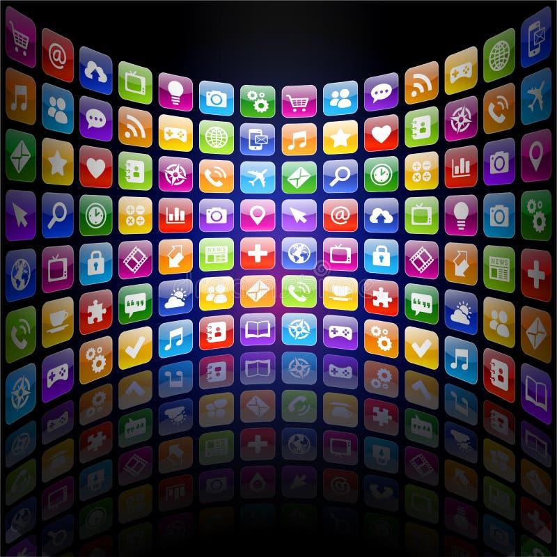 Textura dos ícones 3d do App com reflexão ilustração stock
