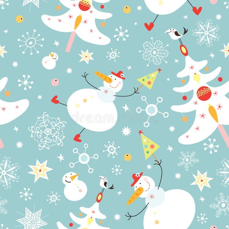 A textura dos bonecos de neve e das árvores de Natal ilustração stock