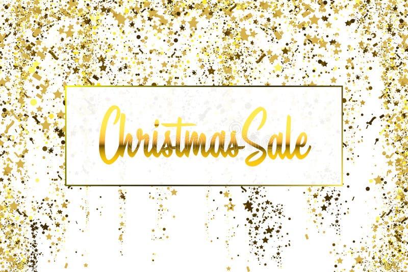 Textura dos confetes do brilho do ouro da venda do Natal em um fundo branco Bandeira dourada do Natal Sumário granulado da poeira ilustração royalty free