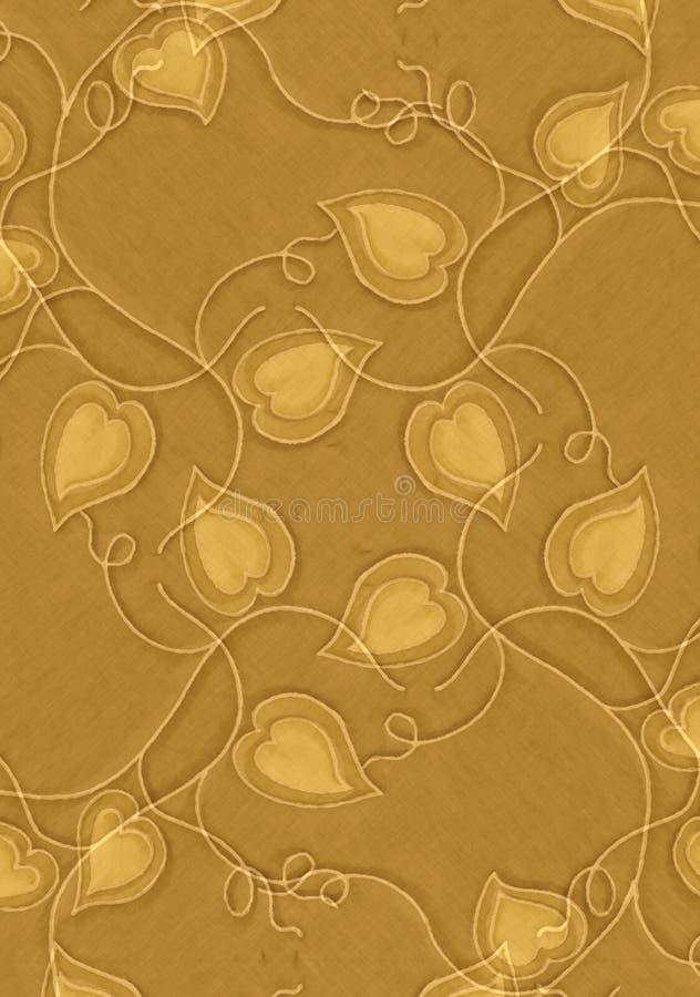 Textura dos corações e das videiras do ouro ilustração stock