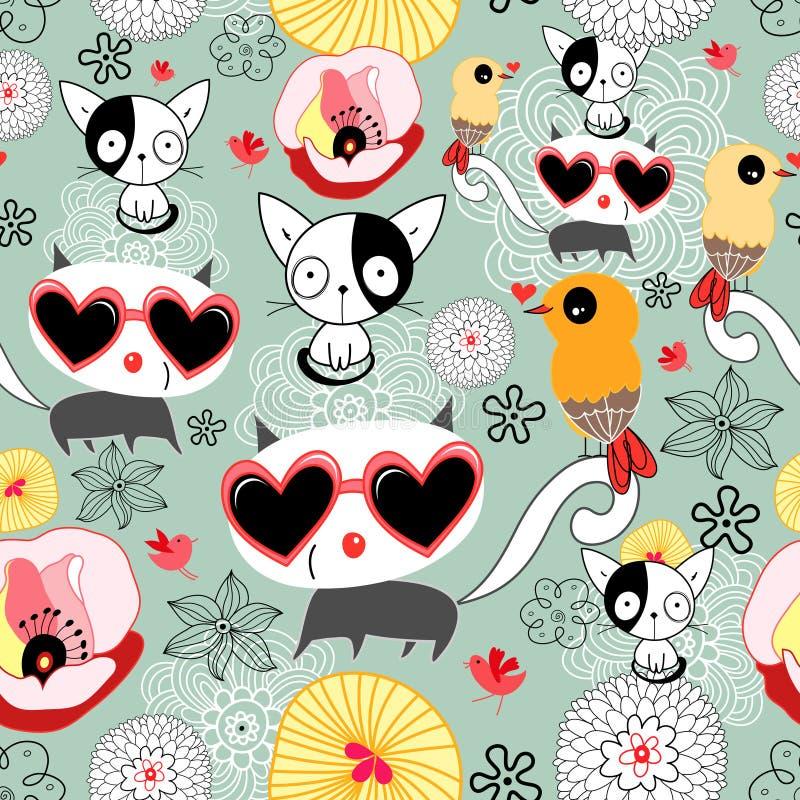 Textura dos gatinhos e dos pássaros ilustração royalty free