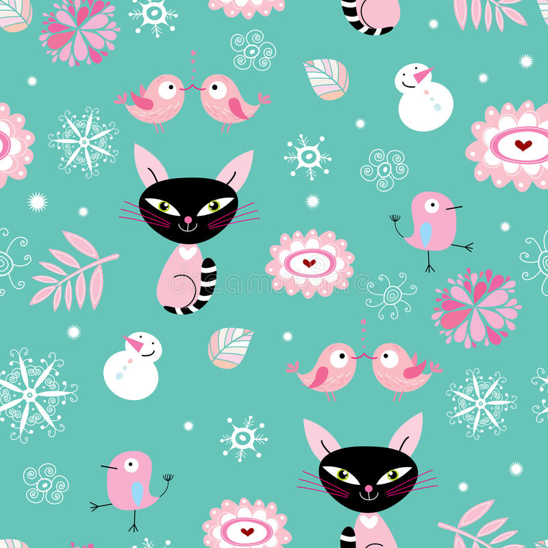 A textura dos gatos e dos pássaros ilustração stock