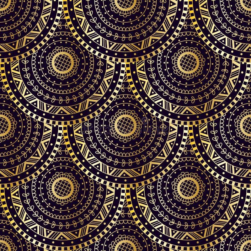 Textura dourada da cauda da sereia do vetor Teste padrão sem emenda da escala de peixes ilustração stock