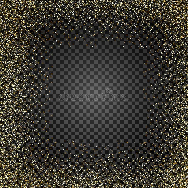 Textura dourada do brilho no fundo isolado Chuva dourada Uma explosão de confetes do ouro Elemento do projeto Ilustração do vetor ilustração stock
