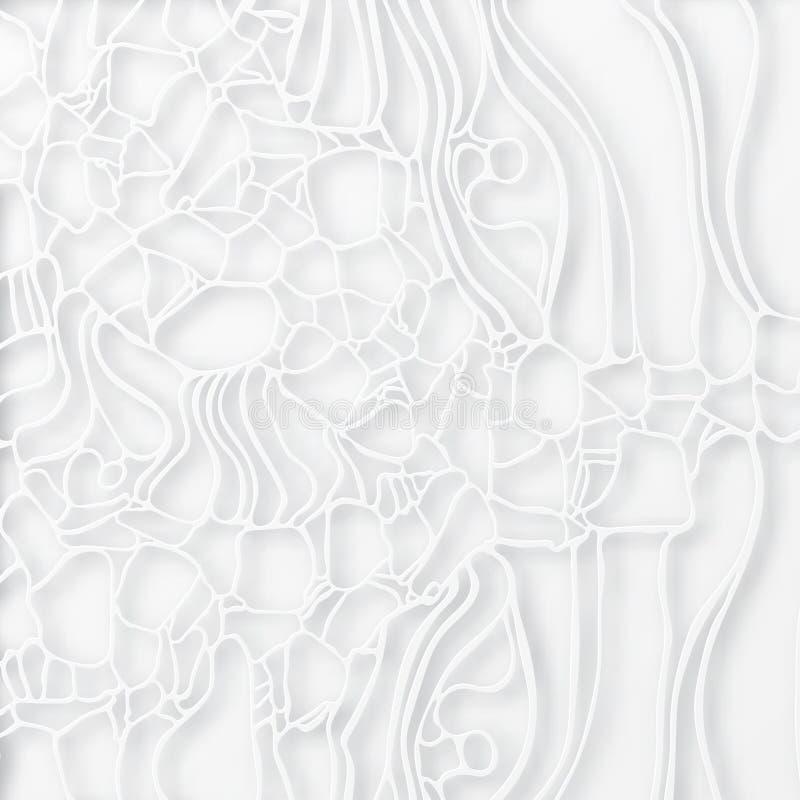 Textura elegante abstrata da pilha Teia de aranha do corte do papel, superfície da telha 3d ilustração royalty free