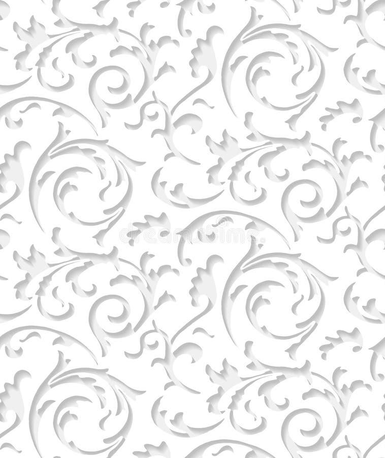 Textura elegante branca do laço do damasco barroco do vetor ilustração royalty free