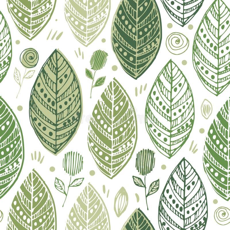 Textura elegante sin fin ornamental decorativa con las hojas Tempate para la tela del dise?o, fondos, papel de embalaje stock de ilustración