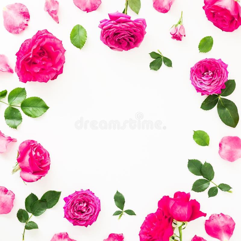 Textura en colores pastel de las flores Marco redondo floral de las rosas y de la anémona rosadas, flores de la peonía en el fond imágenes de archivo libres de regalías