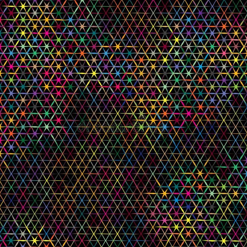 Textura escura do teste padrão do fundo do vetor da mistura colorida abstrata do triângulo das estrelas ilustração stock
