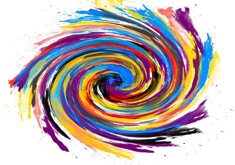 Textura feito à mão do watercolour nas cores diferentes, coloridas Fundo abstrato para o projeto na moda em um fundo branco ilustração do vetor