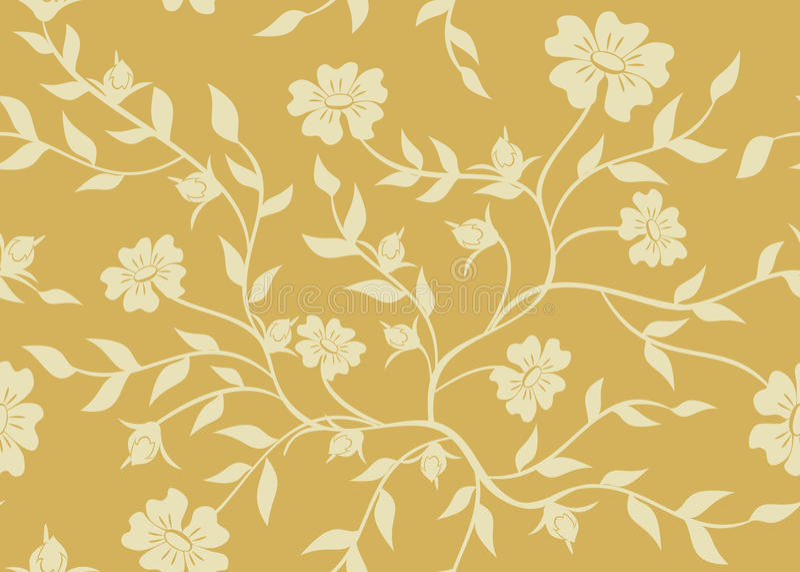 Textura floral bege sem emenda ilustração royalty free