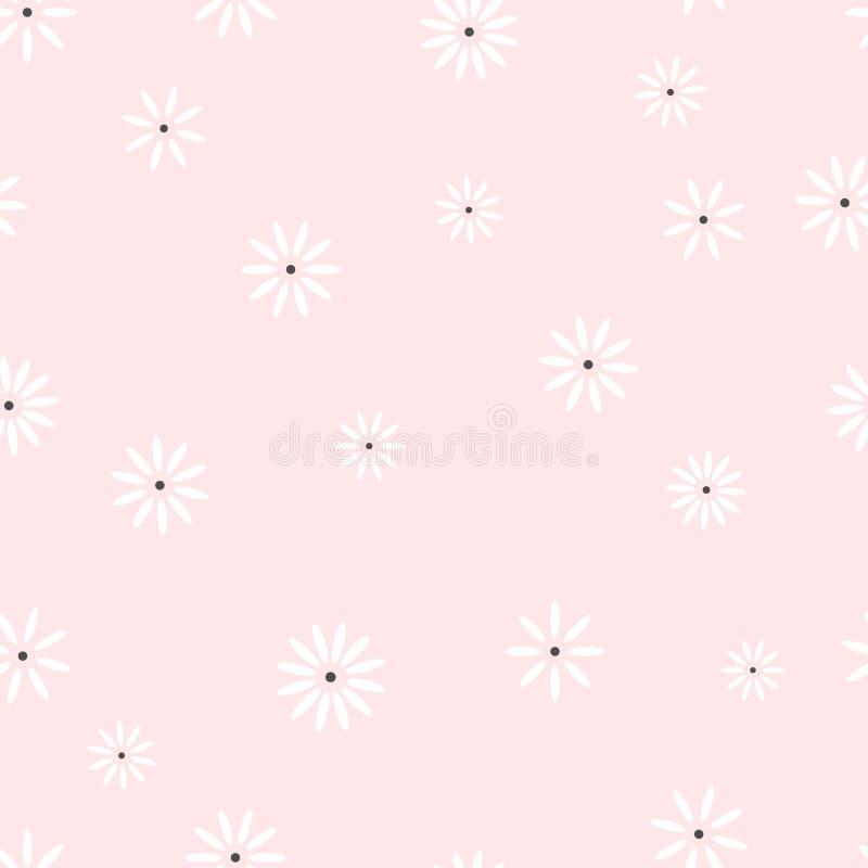 Textura floral da camomila para a cópia que envolve o papel do presente Repetindo o teste padrão sem emenda de margaridas pintada ilustração do vetor