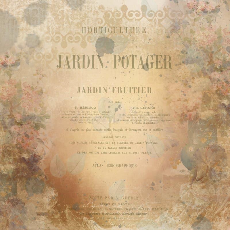Textura floral del fondo del collage del vintage - Ephemera francesa de la página de título del libro libre illustration