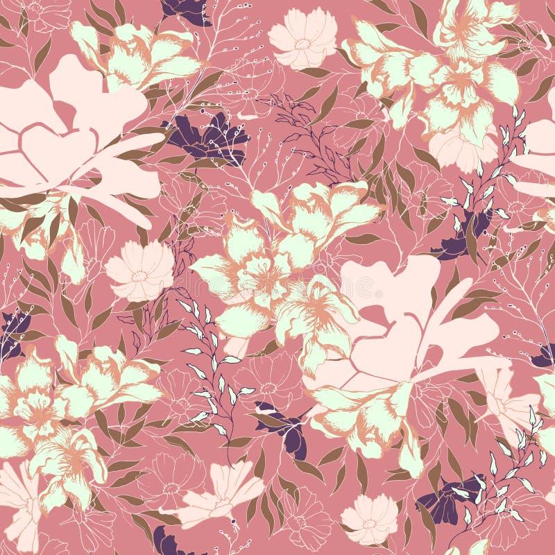 Textura floral del vintage para la tela Ornamento de flores y de hojas en un fondo marr?n ornamento natural elegante Textura de l libre illustration