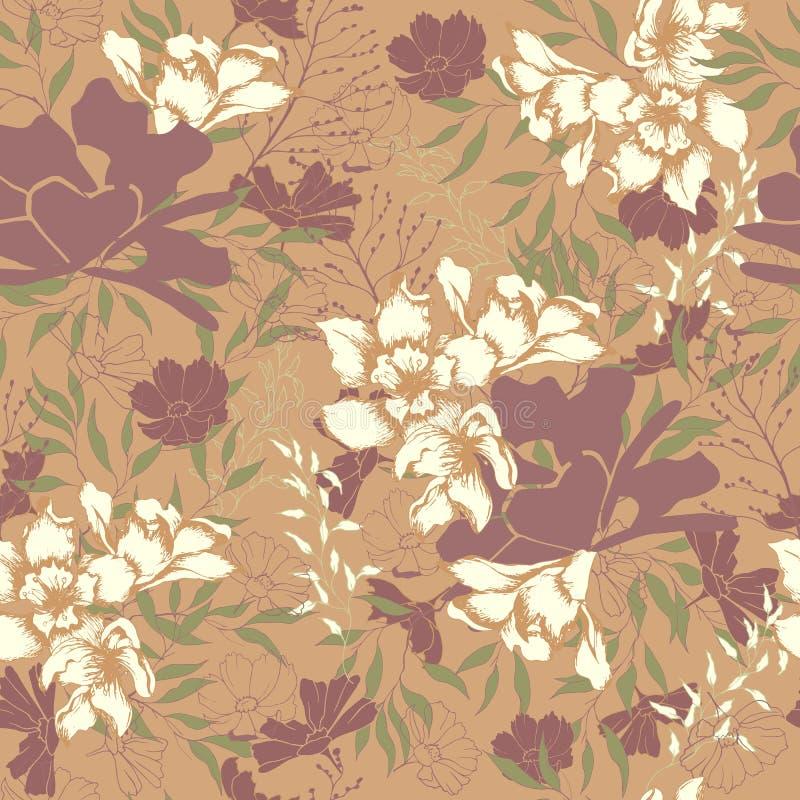 Textura floral del vintage para la tela Ornamento de flores y de hojas en un fondo marr?n ornamento natural elegante Textura de l stock de ilustración