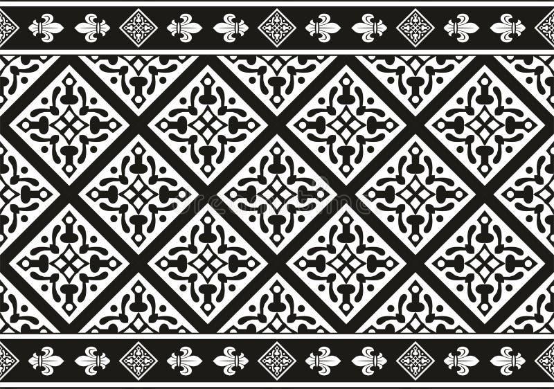 Textura floral gótica blanco y negro inconsútil stock de ilustración