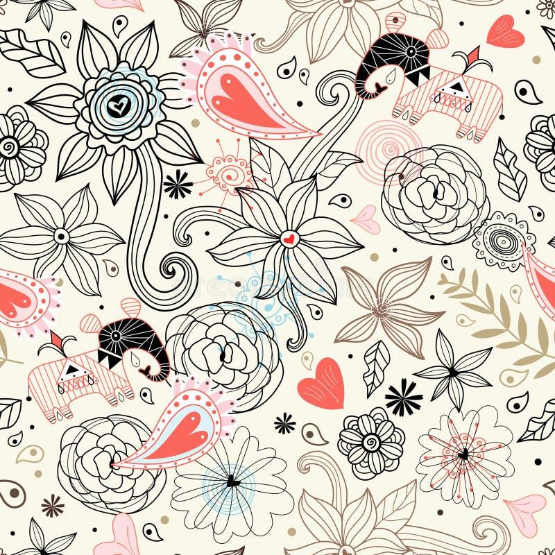 Textura floral gráfica con los elefantes libre illustration