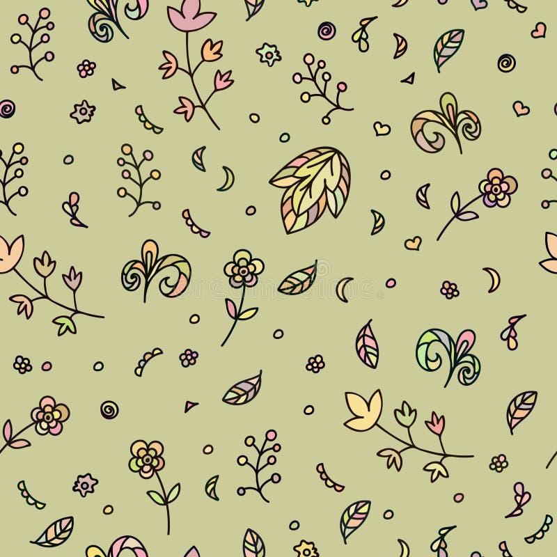 Textura floral Modelo inconsútil del garabato Flores y elementos abstractos ilustración del vector