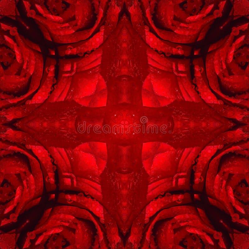 Textura floral roja del elemento del extracto simétrico inconsútil del modelo foto de archivo libre de regalías