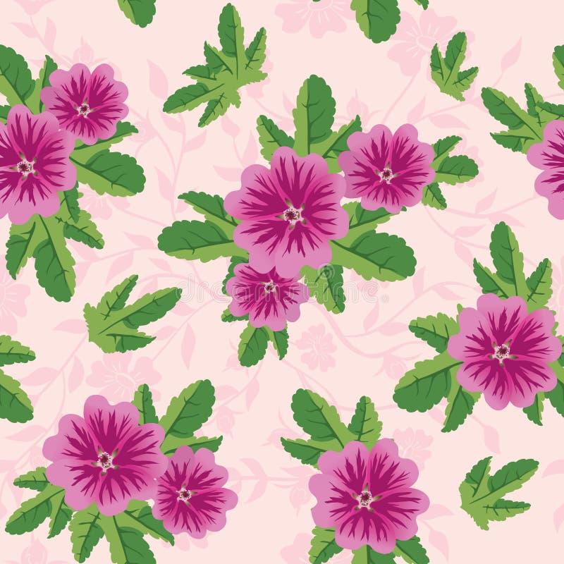 Textura floral rosada con las flores del malva ilustración del vector