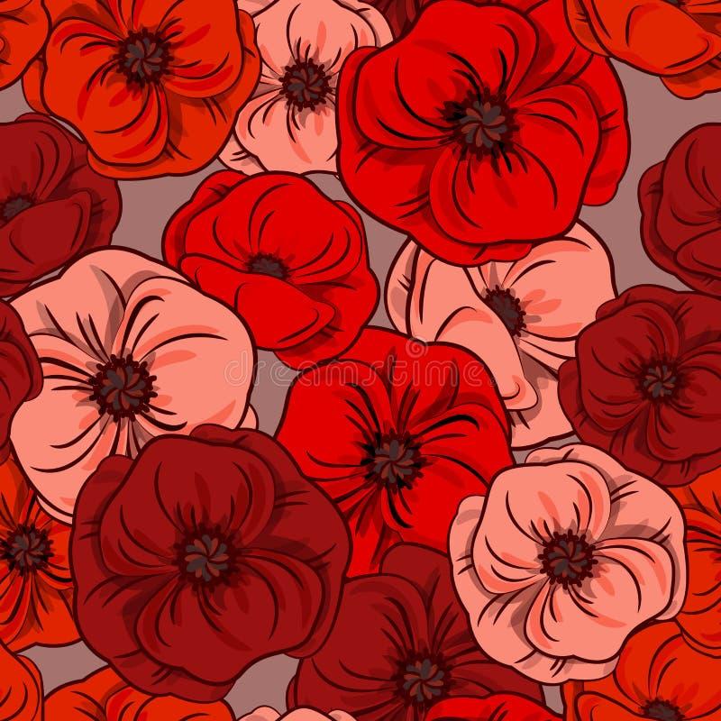Textura floral sem emenda - papoilas Flores vermelhas Fundo da natureza Para matérias têxteis, papel de parede, projeto Vetor Eps ilustração royalty free