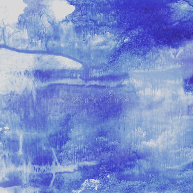 Textura fluida azul da aquarela ilustração do vetor