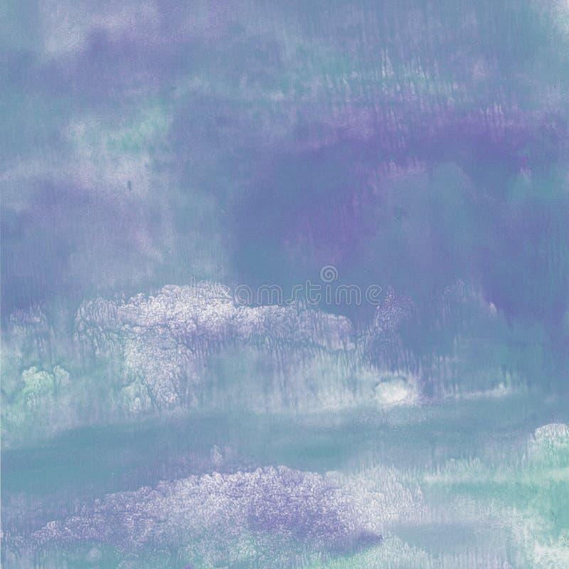 Textura fluida azul e violeta da aquarela ilustração do vetor