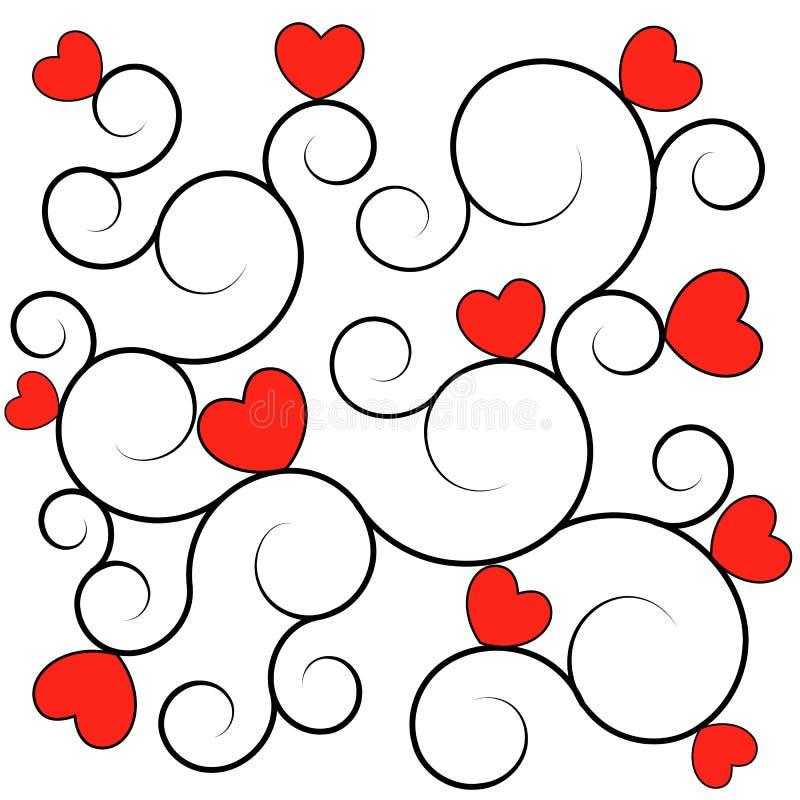 Textura/fondo rojos de los corazones stock de ilustración