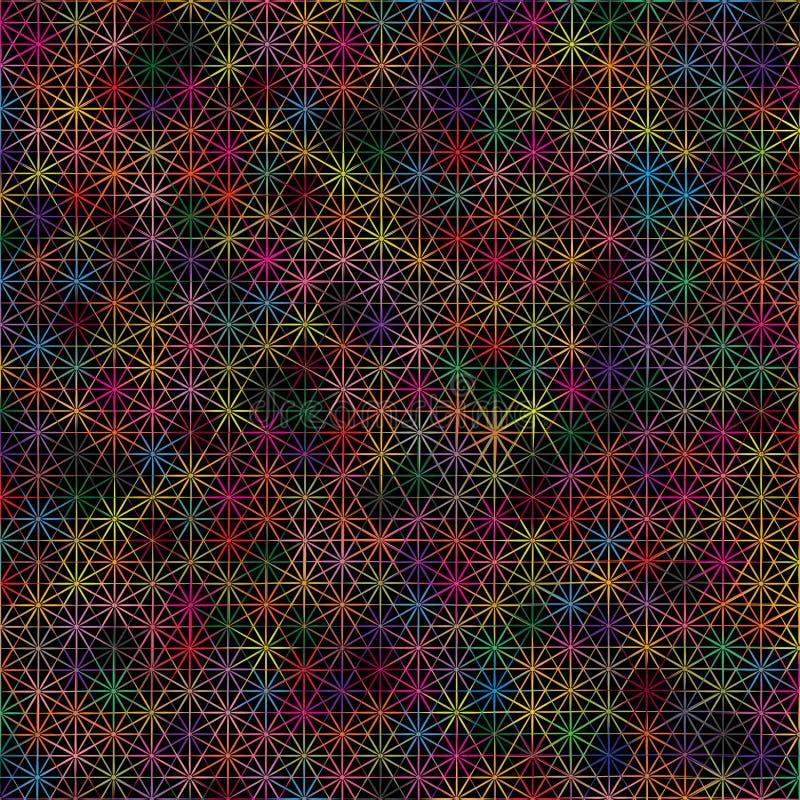 Textura geométrica colorida escura do teste padrão do fundo da conexão de estrelas de Digitas da tecnologia do sumário ilustração do vetor