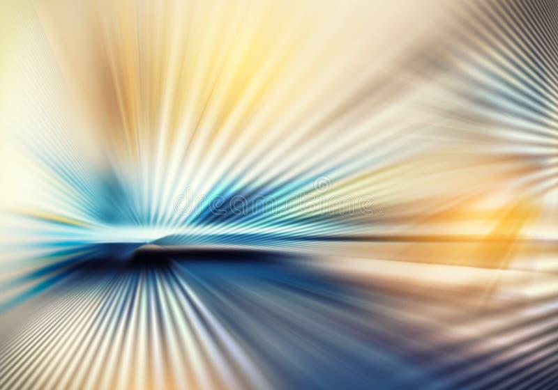 Textura geométrica da luz com as listras dirigidas do centro para fora na cor azul, amarela e marrom fotografia de stock