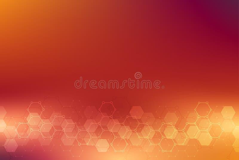 Textura geométrica del fondo con las estructuras moleculares y la ingeniería química Fondo abstracto del modelo de los hexágonos ilustración del vector