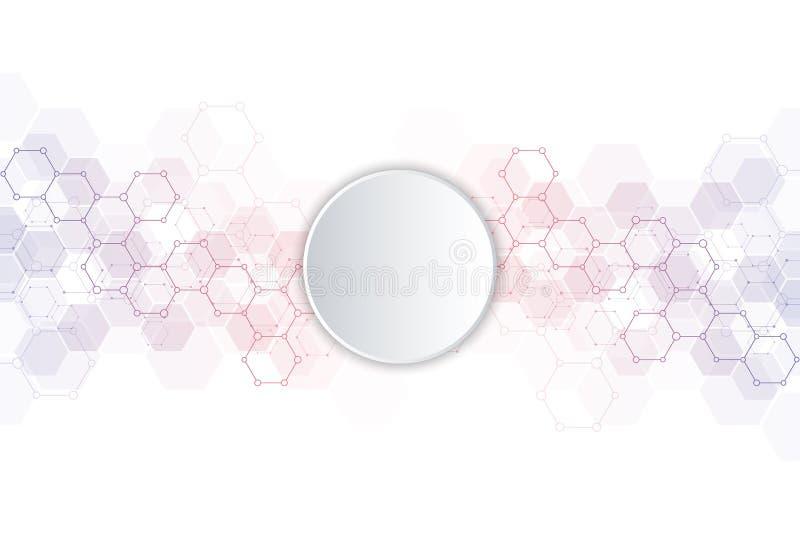 Textura geométrica do fundo com estruturas moleculars e engenharia química Fundo abstrato do teste padrão dos hexágonos ilustração royalty free