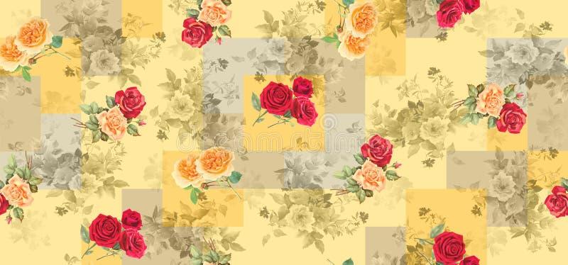 Textura geom?trica incons?til del fondo con las flores color de rosa libre illustration