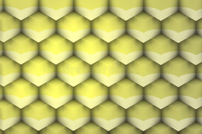 Textura geométrica metálica e amarelada ilustração do vetor