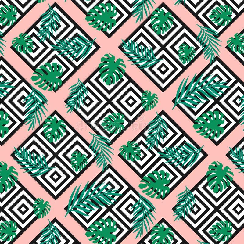 A textura geométrica moderna sem emenda esquadra com as folhas de palmeira tropicais exóticas do verde da selva no fundo cor-de-r ilustração do vetor