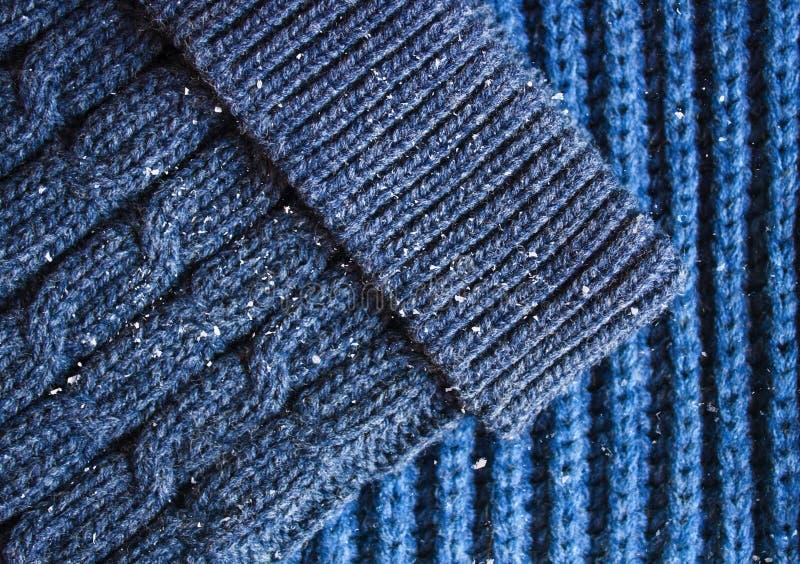 Textura hecha punto de la bufanda y del sombrero fotos de archivo