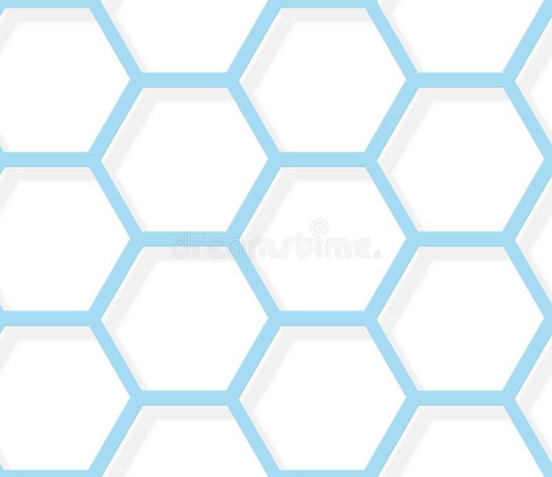 Textura hexagonal blanca y azul del modelo inconsútil - ilustración del vector