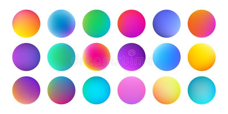 Textura holográfica da aquarela dos círculos de cor do inclinação Fundo fluido líquido do teste padrão do respingo da cor da pint ilustração do vetor