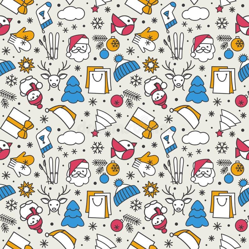 Textura inconsútil - Año Nuevo, la Navidad, invierno stock de ilustración