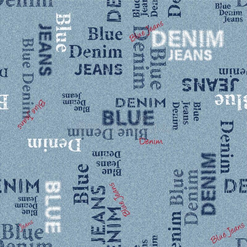 Textura inconsútil con el texto en un fondo del dril de algodón libre illustration