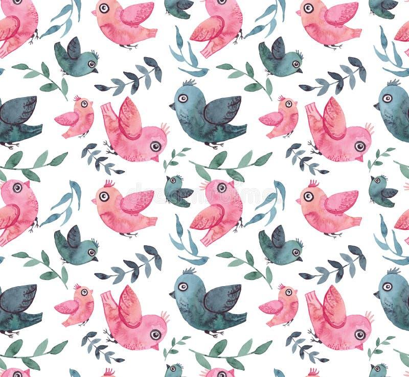 Download Textura Inconsútil Con La Acuarela Pocos Pájaros Y Hojas Azules Y Rosados Stock de ilustración - Ilustración de inconsútil, impresión: 77883496