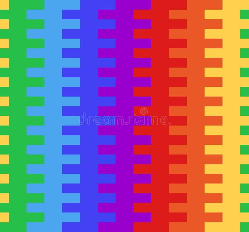 Textura inconsútil con la cestería del arco iris Bloques multicolores stock de ilustración