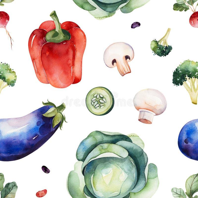 Textura inconsútil con la col, setas, pimienta roja, berenjena, bróculi, rábano stock de ilustración