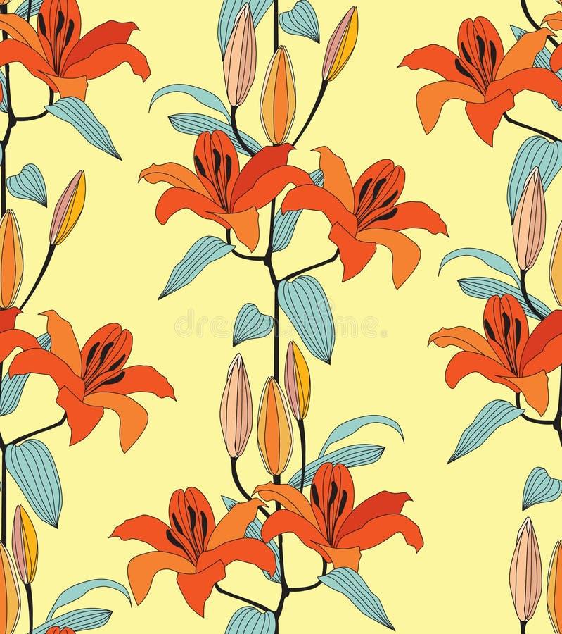 Textura inconsútil con la flor roja y anaranjada libre illustration