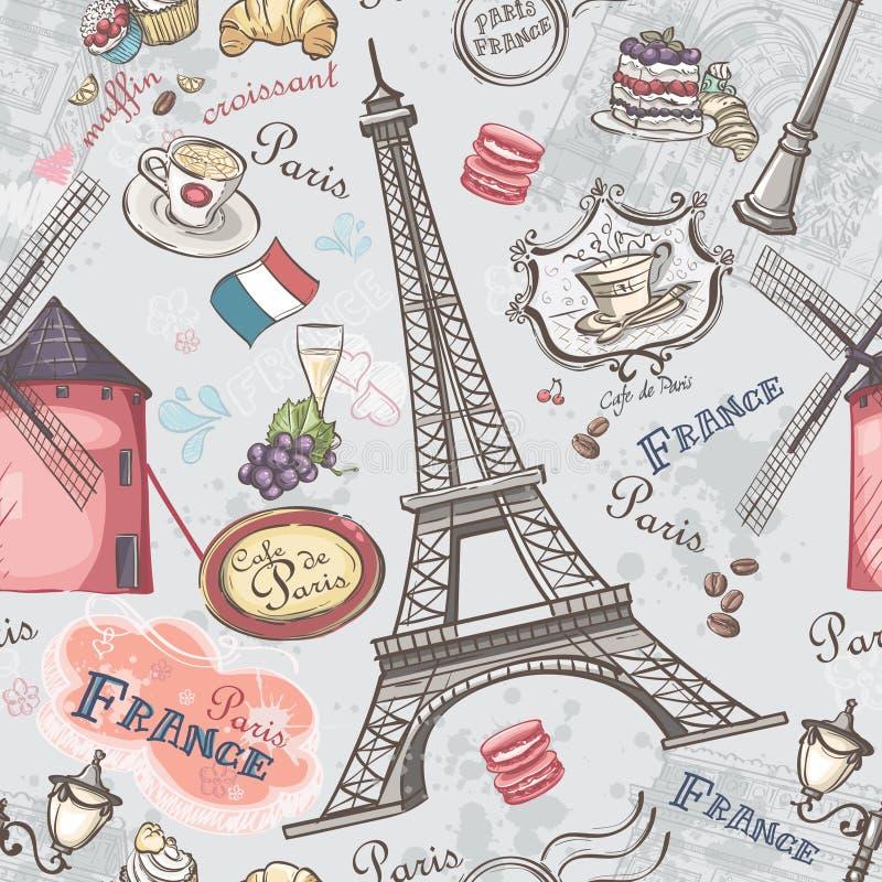 Textura inconsútil con la imagen de las vistas de París ilustración del vector