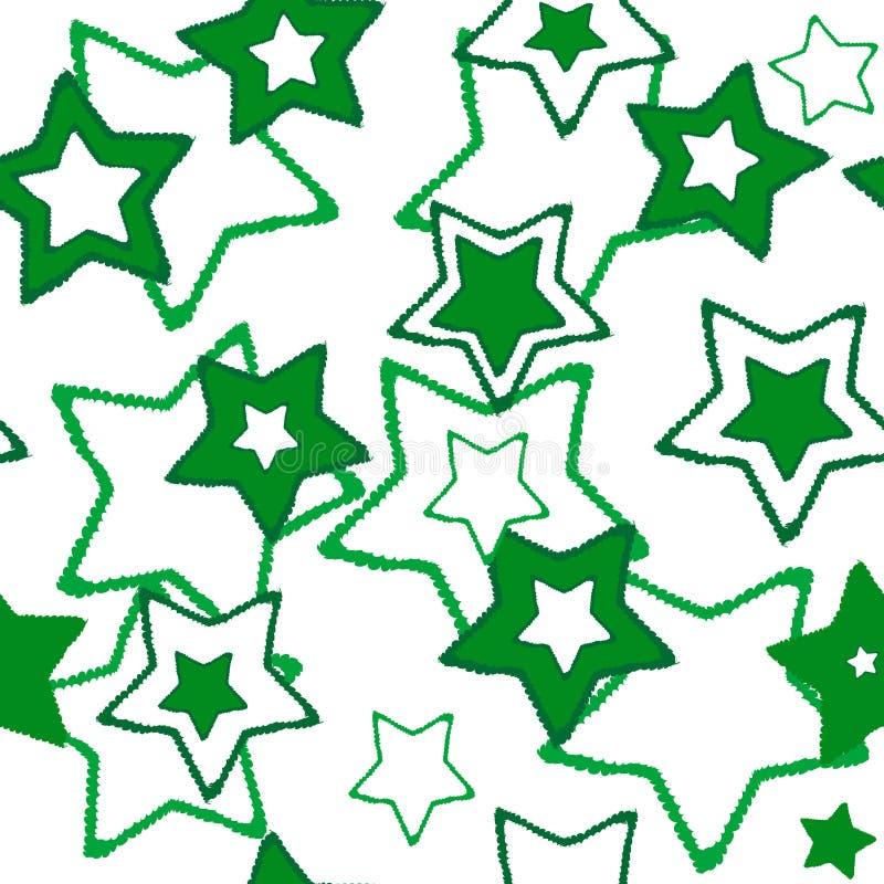 Textura inconsútil con las estrellas verdes ilustración del vector